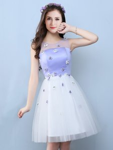 Hot Selling White Scoop Lace Up Appliques Quinceanera Dama Dress Sleeveless