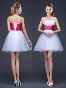 Mini Length Red Quinceanera Court of Honor Dress Organza Sleeveless Beading and Ruching and Belt