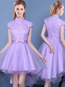 Lavender High-neck Neckline Lace and Bowknot and Belt Quinceanera Court Dresses Short Sleeves Zipper