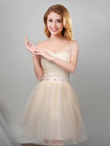 Off the Shoulder Short Sleeves Mini Length Lace and Appliques and Belt Lace Up Quinceanera Court Dresses with Champagne