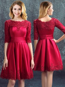 Great Bateau Half Sleeves Quinceanera Court Dresses Mini Length Lace Wine Red Satin