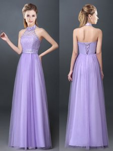 Halter Top Sleeveless Quinceanera Dama Dress Floor Length Lace and Appliques Lavender Tulle