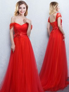 Custom Designed Off the Shoulder Red Tulle Lace Up Quinceanera Dama Dress Sleeveless With Brush Train Appliques and Ruching