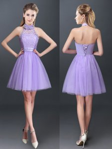 Halter Top Lavender Lace Up Vestidos de Damas Lace and Appliques Sleeveless Mini Length