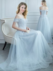 Most Popular Light Blue Off The Shoulder Lace Up Beading and Appliques Dama Dress Cap Sleeves