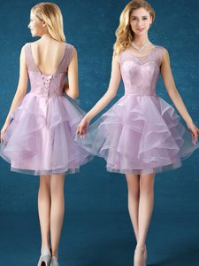 Deluxe A-line Damas Dress Lavender Scoop Organza and Tulle Sleeveless Knee Length Lace Up