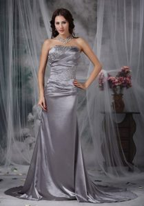 Ruching Beading Court Train Prom Holiday Dress in Gray Color 2014