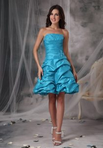 Beading and Pick ups Accent Mini Prom Evening Dress in Baby Blue