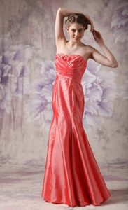 Coral Red Column Strapless Prom Evening Dress with Beading Ruches