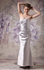Beaded and Ruched Silver Prom Evening Dresses with Brush Train