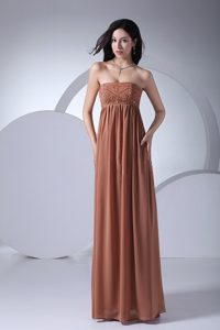 Empire Strapless Floor-length Prom Graduation Dress in Brown