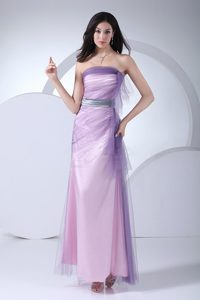 Taffeta Tulle Strapless Pink Long Prom Dress for Girls Wholesale