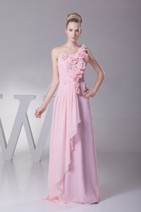 Flowery One Shoulder Pink Prom Evening Dress with Beading Ruches