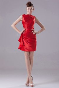 Pretty Mini-Length Red Prom Graduation Dress with Ruche Taffeta