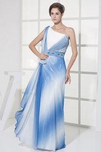 Unique Ombre Color One Shoulder Long Prom Graduation Dress