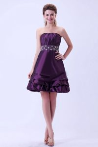 Popular Strapless Dark Purple Short Prom Dress in Montgomery