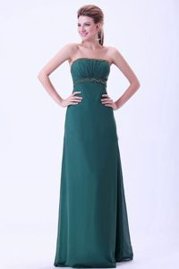 Beaded and Ruched Strapless Prom Evening Dress in Peacock Green