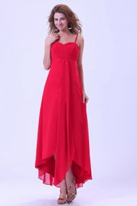 Hot Sale Coral Red Chiffon Prom Gowns with Spaghetti Straps