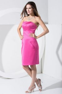 Strapless Knee-length Hot Pink Prom Dress for Girls in Birmingham