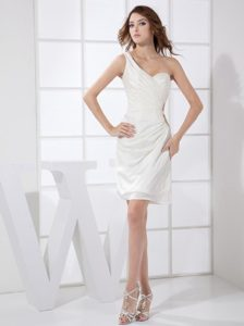 Ruched White One Shoulder Mini Prom Holiday Dress with Cutouts