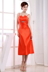 Beaded Orange Tea Length Prom Holiday Dress with Spaghetti Straps