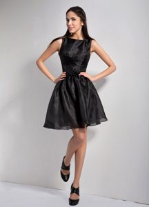 Black Bateau Organza Prom Evening Dress of Mini Length on Promotion