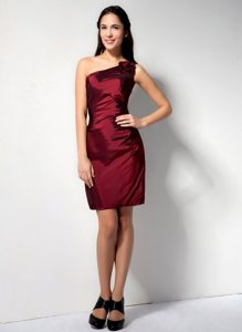 Flowery One Shoulder Column Satin Prom Evening Dress in Wine Red