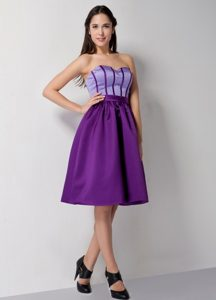 Purple Satin A-line Sweetheart Prom Evening Dress of Knee Length