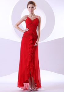 Appliqued Red Ankle Length Prom Gown Dress with Spaghetti Straps