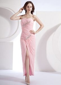 Beaded and Ruched Baby Pink Prom Holiday Dress with High Slit
