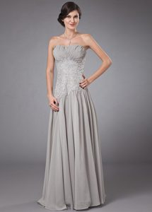 Embroidery and Ruches Accent Gray Chiffon Floor Length Prom Gowns