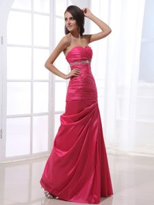 Ruched and Beaded Column Long Prom Gown Dresses in Hot Pink 2014