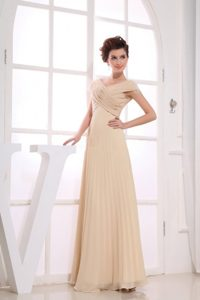 Champagne Chiffon V-neck Prom Evening Dress with Ruches and Pleats