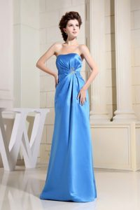 Appliques and Ruches Accent Long Prom Evening Dress in Sky Blue