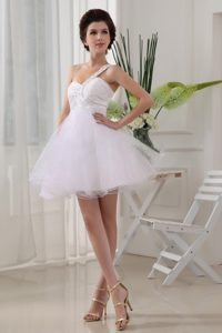 White One Shoulder Organza Prom Evening Dress with Beading and Ruches