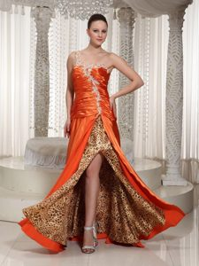 Orange Red One Shoulder Prom Gown Dress with Appliques Leopard Print