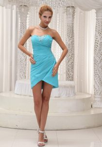 Beading Ruches Accent Mini Length Prom Gown Dresses in Aqua Blue