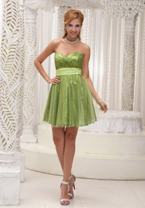 Spring Green Mini Length Prom Gown Dress with Sequins Over Skirt