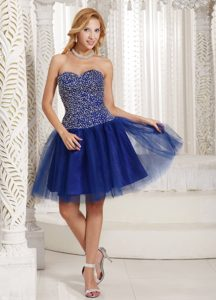 Beaded Bodice Sweetheart Mini Length Prom Gown Dress in Royal Blue