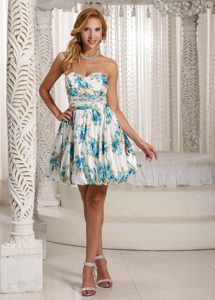 Beading and Ruches Accent Mini Prom Theme Dresses of Colorful Print