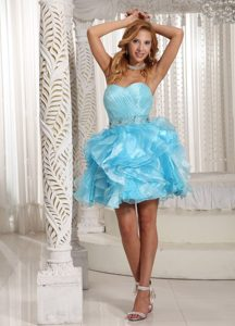 Beaded Ruched Mini Aqua Blue Prom Theme Dresses with Puffy Ruffles
