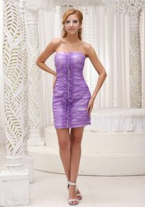 Beading and Ruches Accent Column Prom Theme Dresses in Lavender