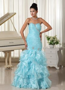 Ruffles and Beading Accent Organza Mermaid Prom Gown in Aqua Blue