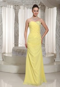 Beading and Ruches Accent Prom Theme Dresses in Light Yellow 2014