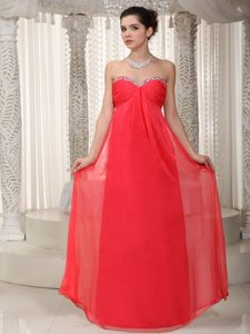 Coral Red Sweetheart Beaded Dresses for Prom Night of Floor Length
