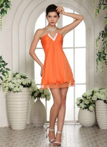 Orange Red Mini Length Dresses for Prom Night with Slot Neckline