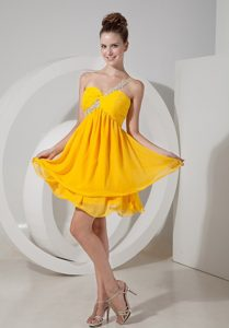 Appliqued One Shoulder Mini Dresses for Prom Night in Bright Yellow