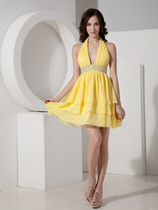 Halter Beaded and Ruched Bright Yellow Dresses for Prom Night 2014