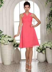 Ruched V-neck Mini Length Chiffon Prom Court Dresses in Coral Red
