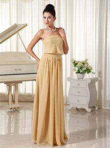 Wheat Colored Strapless Chiffon Prom Court Dresses of Floor Length